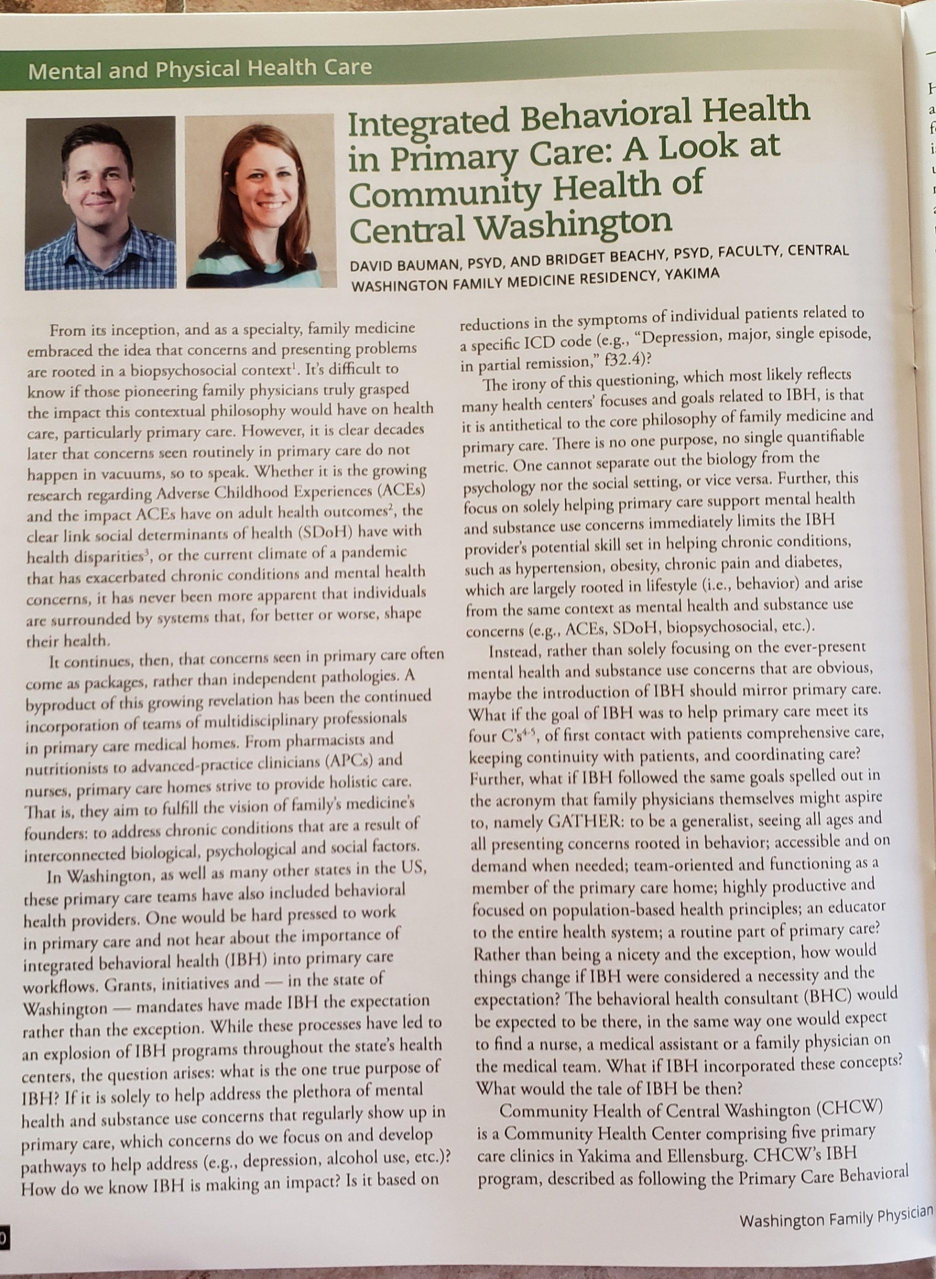 CWFMR in Washington Family Physician Article