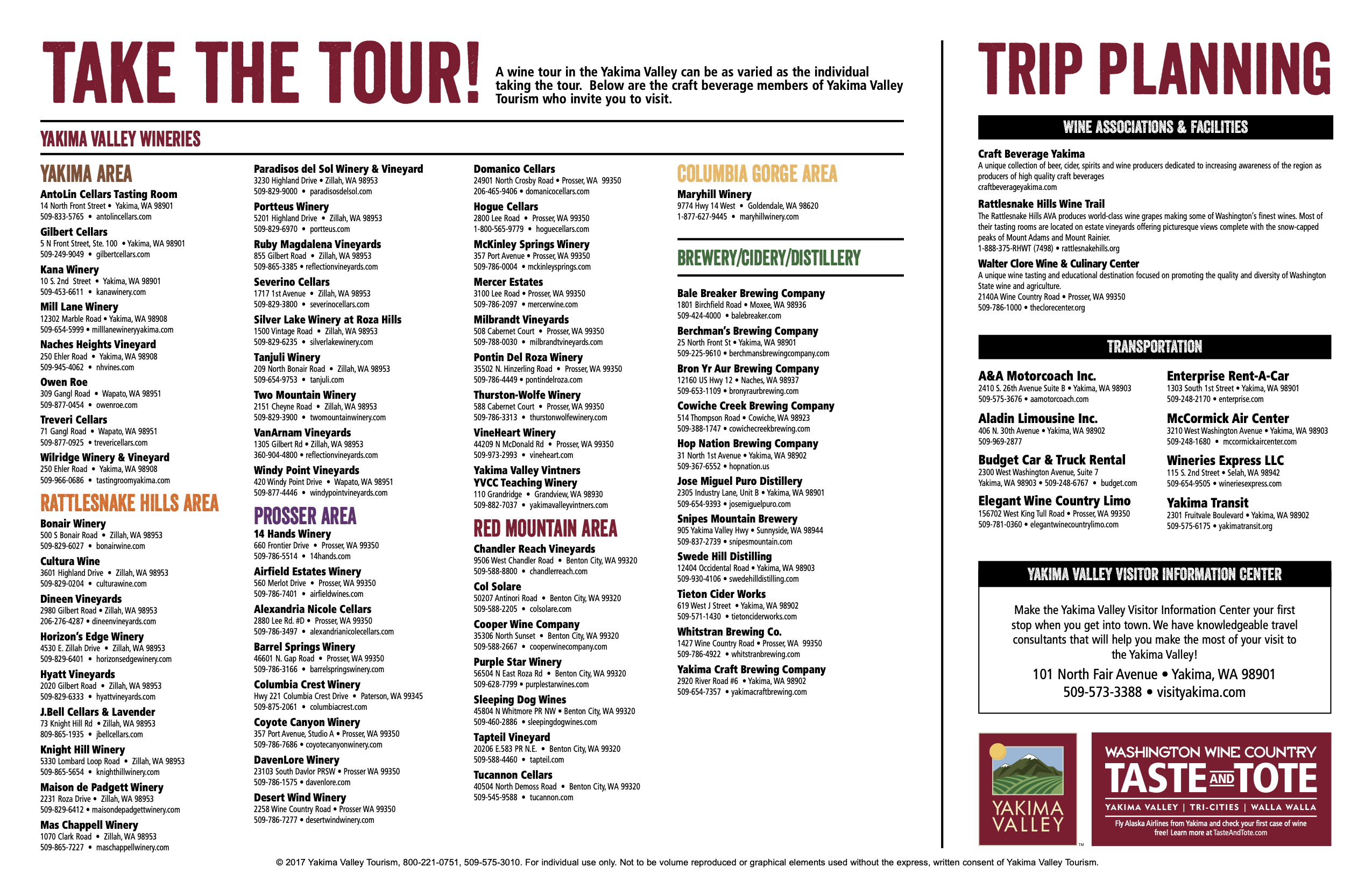 Yakima Craft Beverage Map Tour